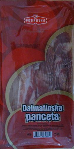 ダルマチア産のパンツェッタ。豚バラ肉を塩漬けして乾燥させたもので生で食べる。
